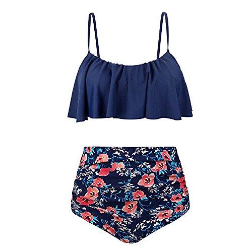 chuxin huang Womens High Waist Bikini Swimsuits Two Piece Retro Thin Shoulder Straps Plus Size Swimwear Red by chuxin huang (Image #4)