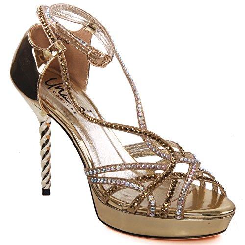 Unze Sandalias de tiras de noche Mujeres Haila Gold