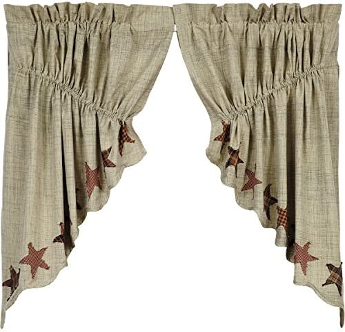 VHC Brands Primitive Classic Country Kitchen Window Curtains – Abilene Star Tan Prairie Swag Pair