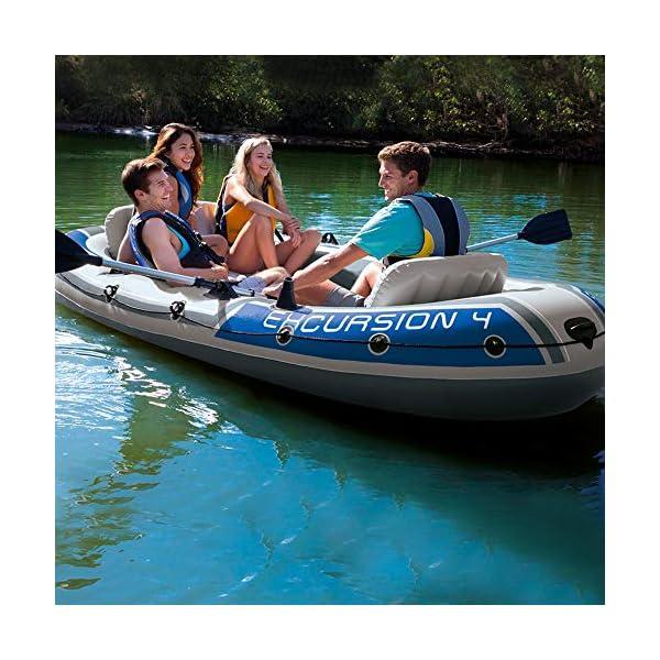 51Qkch8EgEL Intex Excursion 4 Set Schlauchboot - 315 x 165 x 43 cm - 3-teilig - Grau / Blau