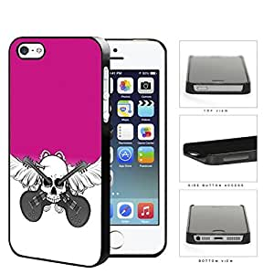 Skull And Acoustic Guitars In Pink Hard Plastic Snap On Cell Phone Case Apple iPhone 5 5s