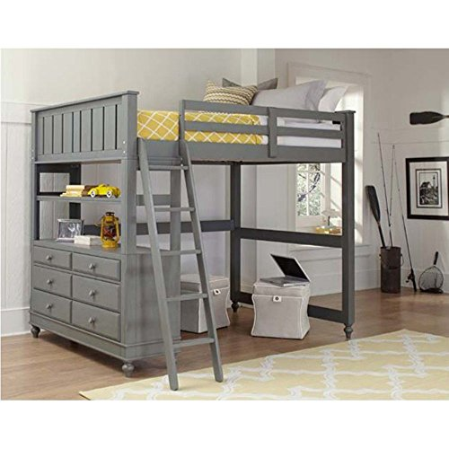 NE Kids Lake House Full Loft Bed with Full Lower Bed in Stone