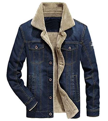 Fensajomon Mens Winter Lamb Wool Lined Denim Jean Jacket Thicken Quilted Coat Outerwear 1 XL
