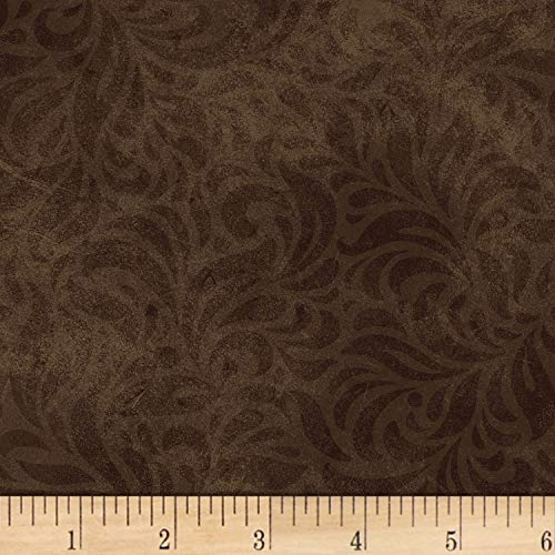 Fabri-Quilt P&B Textiles Bella Suede Wide Floral Swirl Brown, Fabric by the Yard