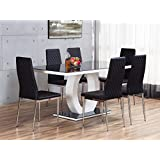 GIOVANI Black/White High Gloss Glass Dining Table Set and 6 Leather Chairs Seats