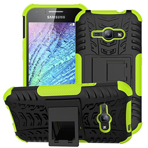 Cover Ace (Galaxy J1 Ace Case,NOMO(TM) Shock Absorption Hybrid Dual Layer Armor Defender Protective Case Cover with Kickstand for Samsung Galaxy J1 Ace J110M 2015 - Green)