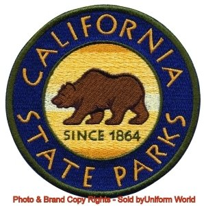 CALIFORNIA STATE PARKS Shoudler Patch (Iron-On or Sew), Bear in Center Patch, 4