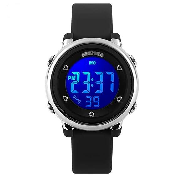 Para niños SKMEI SK1100A luz LED resistente al agua reloj Digital de colores correas negras: Amazon.es: Relojes