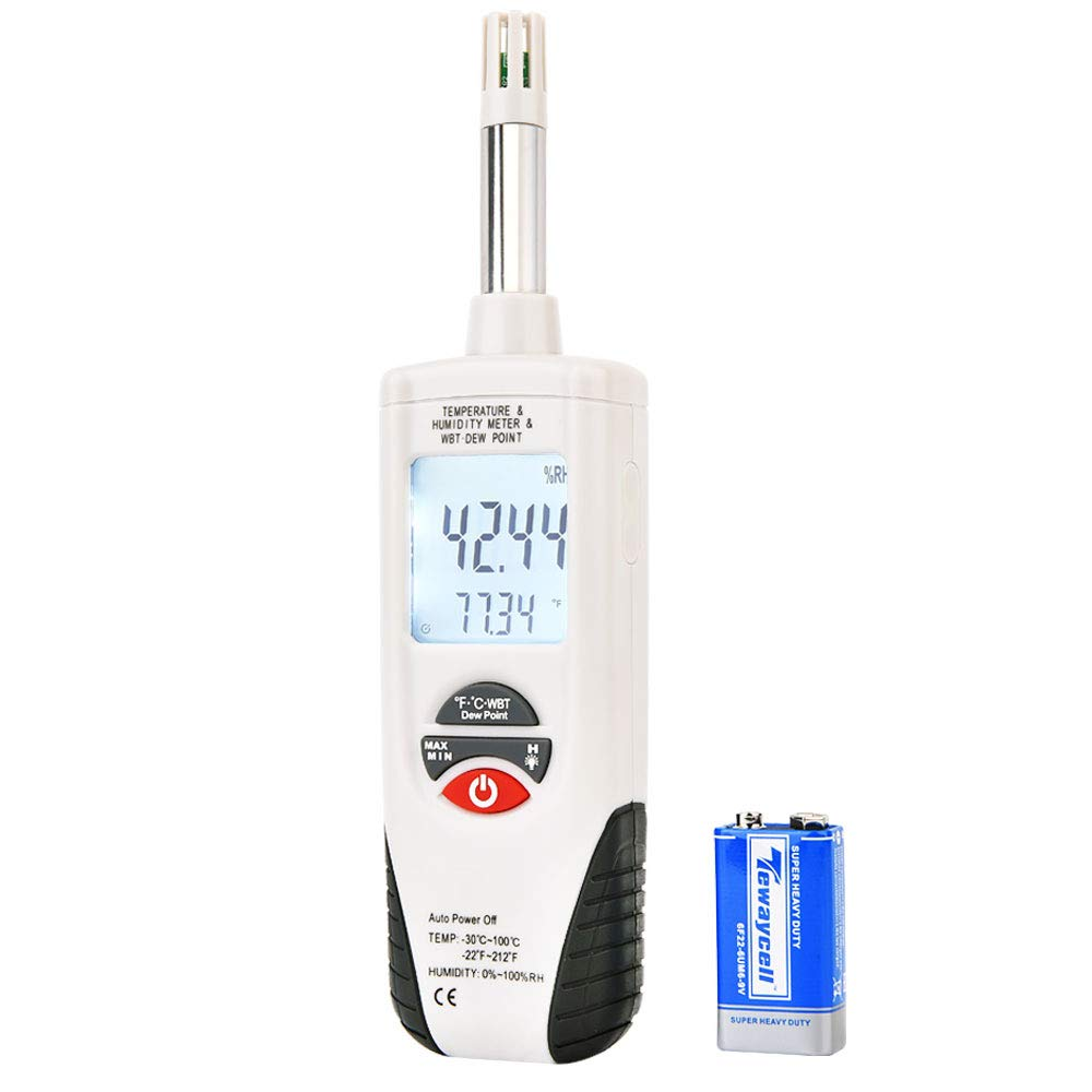 Hygro-Thermometer Psychrometer, Handheld Digital Humidity Temperature Meter with Dew Point and Wet Bulb Temperature, Dual Display Temperature & Humidity, Hti-Xintai by Hti-Xintai