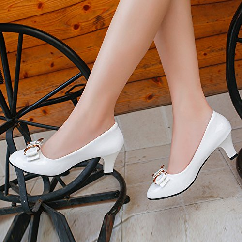 Womens Ladies Patent Leather Bow Kitten Mid Heel Shoes Court Shoes Pumps For Party Work Evening Party Prom Wedding White GShXD1Xr7u