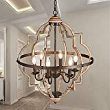 TZOE Orb 6-Light Chandelier,Rustic Vintage Metal Chandelier,Stardust Finish,Foyer Chandelier,Adjustable Height,Dining Light,Living Room Lighting,Kitchen Chandelier UL Listed