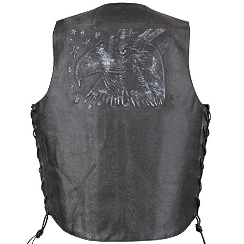 Xelement VE9720 Mens Black Embossed Eagle Head Stars Leather Vest with Conceale - Medium
