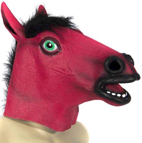 HMS Men's Blacklight Responsive Horse Mask, Fluorescent Pink, One Size