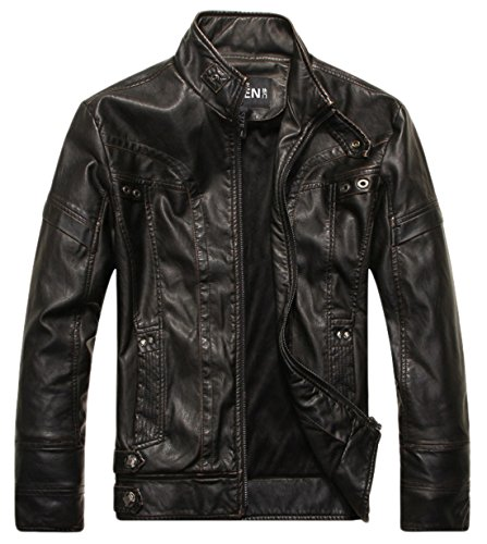 Leather Belted Motorcycle Jacket (Chouyatou Men's Vintage Stand Collar PU Leather Jacket (XX-Large, DZQM769-Black))