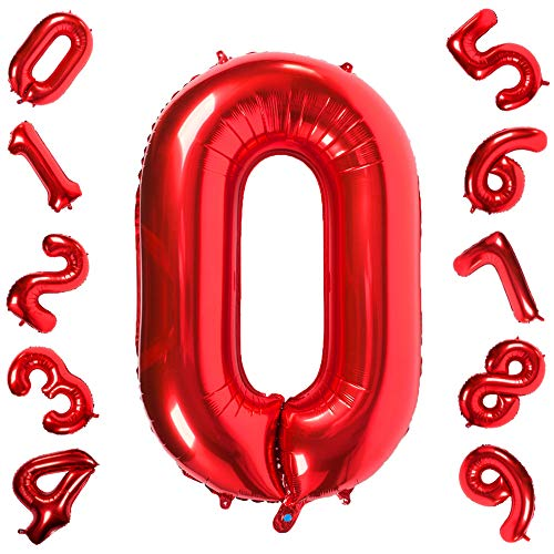 Number 0 Balloons Red,Birthday Decorations Supplies Helium Foil Mylar Digital Balloons 40 ()
