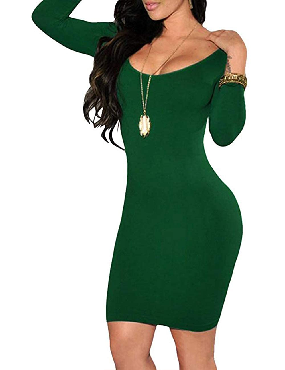Dark Green Haola Women's Scoop Neck Long Sleeve Dress Pencil Bodycon Stretch Midi Party Dress