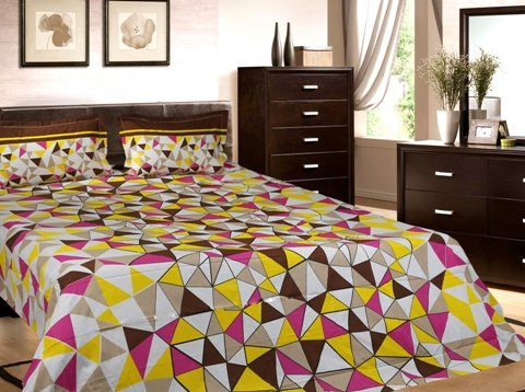 Trident Designer Geometric,Solid,Traditional 100% Cotton Double Bed sheet With 2 Pillow Covers- Yellow & Brown