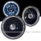 Universal 7'' Round LED DRL Halo Black Headlights with H4 Bulbs