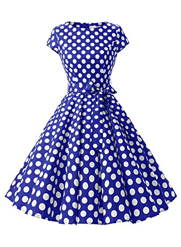[Dressystar Vintage 1950s Polka Dot and Solid Color Prom Dresses Cap-sleeve L Royalblue White Dot B] (Rockabilly Costumes)