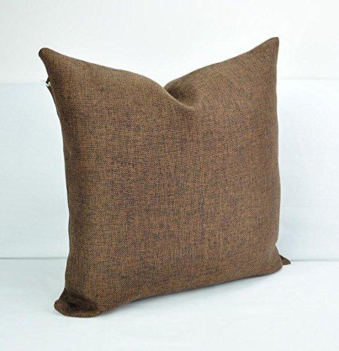 Benfan Canvas Square Decorative Throw Pillow Case Pure Cotton Cushion Cover Linen Pure Chocolate Color 18inch