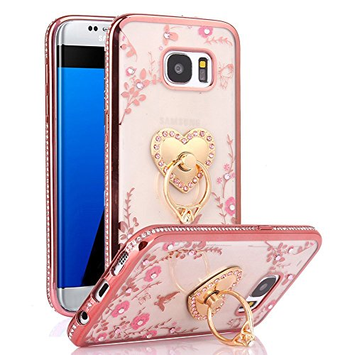 Galaxy S7 Edge Case, S7 Edge Case, CaseUp Glitter Crystal Heart Floral Series - Slim Luxury Bling Rhinestone Clear TPU Case With Ring Stand For Samsung Galaxy S7 Edge, Rose Gold