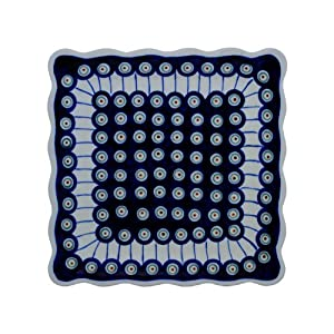 Hand-Decorated Polish Pottery Dinner Plate (Esstelller) Square 23.8×23.8 cm 2.2 cm in Decor 8