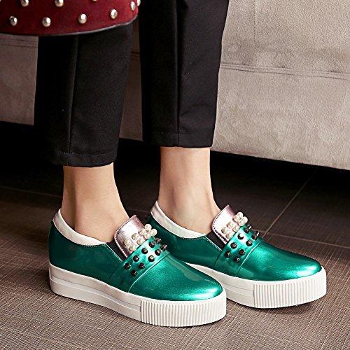 Latasa Femmes Cloutés À Lintérieur Des Bas Wedges Glisser Sur Mocassins Chaussures Vert