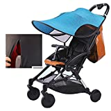 Stroller Sun Shade RayShade with Great UV Protection Performance, 360 Degree Adjustable, UPF50+, Blackout Blind, Zip up Window & Mesh, Large Size for Baby Carriages, Pushchair,Blue
