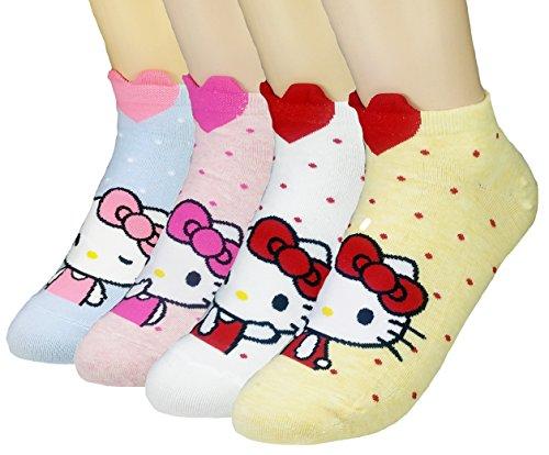 JJMax Women's Hello Kitty Cute Cotton Blend Ankle Socks Set, Lovely Kitty, One Size