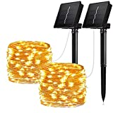 Solar String Lights, 2 Pack 100 LED Solar Fairy Lights 33 ft Copper Wire Lights Waterproof Outdoor String Lights for Garden Patio Gate Yard Party Wedding Warm (Solar Warm 2-Pack)