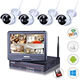 4CH 960P HD Network Security WIFI NVR Kit 1TB HDD+4x 1.0MP 720P Wireless Outdoor IP Camera System 100ft(30m) Night Vision,QR Scan Smartphone Remote View Email Alert w/ 10.1inch LCD Screen Monitor