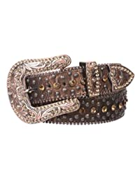 Snap On Western Cowgirl Alligator Rhinestone Studded Leather Belt Size: M/L - 38 Color: Brown