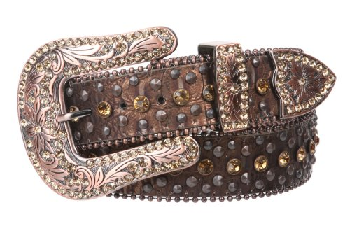 Snap On Western Cowgirl Alligator Rhinestone Studded Leather Belt, Brown | - Studded Alligator