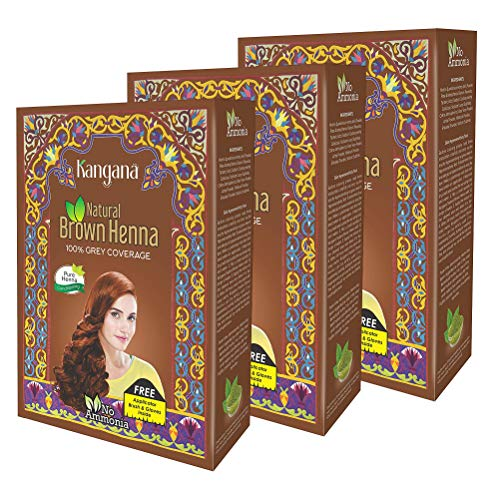 Kangana 100% Pure & Natural Henna Powder for Hair Dye - Natural Brown Henna Powder for Grey Hair Coverage - 6 Pouches Each - Total 180g (6.34 Oz)- Pack of 3 (Best Hair Color For Grey Coverage 2019)