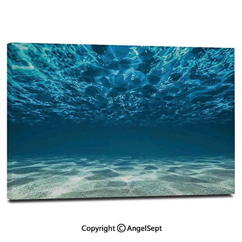 Modern Salon Theme Mural Bright Gravelly Bottom and Wavy Surface Tropical Seascape Abyss Underwater Sunny Day Painting Canvas Wall Art for Home Decor 24x36inches,