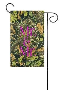 "Camuflaje rosa jardín bandera 12""x18"""