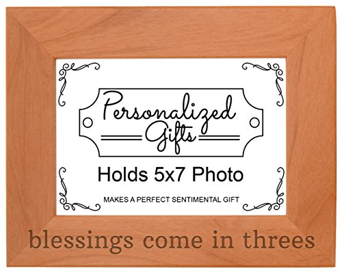 Personalized Gifts Triplets Gift Blessings Come in Threes Baby Natural Wood Engraved 5x7 Landscape Picture Frame Wood