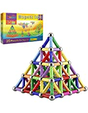 Veatree 150 Pieces Puzzle Magnetic Building Blocks Toys Magnet Construction Build Kit Education Toys for Kids Playing Stacking Game with Magnetic Bricks and Sticks