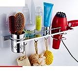 Hair Dryer Holder,Hair Dryer Shelf,Hair Blow Dryer Holder, stainless steel hair dryer rack Bathroom racks Wall mount hair dryer Storage shelf Hair dryer-C
