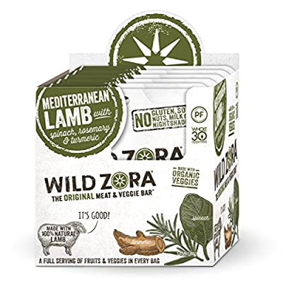 Wild Zora - Mediterranean Pasture-Raised Lamb & Organic Veggie Bars - AIP-friendly, No Nightshades, Gluten-Free, No Antibiotics or Added Hormones (10-Pack)