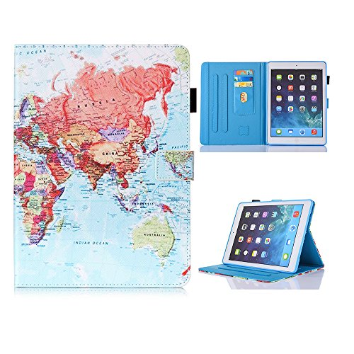 iPad Mini Case Smart Leather Case - UNOTECH Card Slot Protective Case with Pen Holder Wake/Sleep Function for iPad Mini 1 2 3 4 (7.9 Inch), Map by UNOTECH