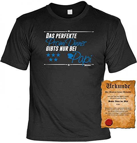Originelles T-Shirt mit Urkunde - Das perfekte Promi Dinner gibts nur bei Papi - tolles Geschenkeset für Vater Papa Vati