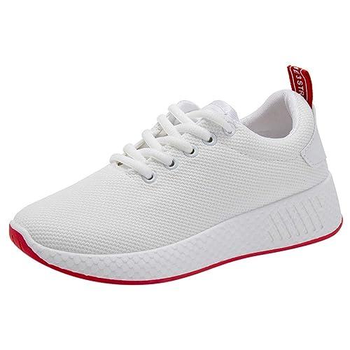 Ansenesna Zapatos Mujer Deportivos Casual Moda Zapatillas Deporte Malla Transpirables con Cordones Zapatillas Deportivas Correr