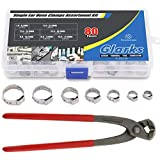 Glarks 80Pcs 7-21mm 304 Stainless Steel Single Ear Hose Clamps with Pincers Kit