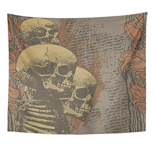 Emvency Tapestry Halloween Floral Skulls Engraved Retro Vintage Music Abstract Alternative Home Decor Wall Hanging for Living Room Bedroom Dorm 50x60 Inches for $<!--$17.90-->