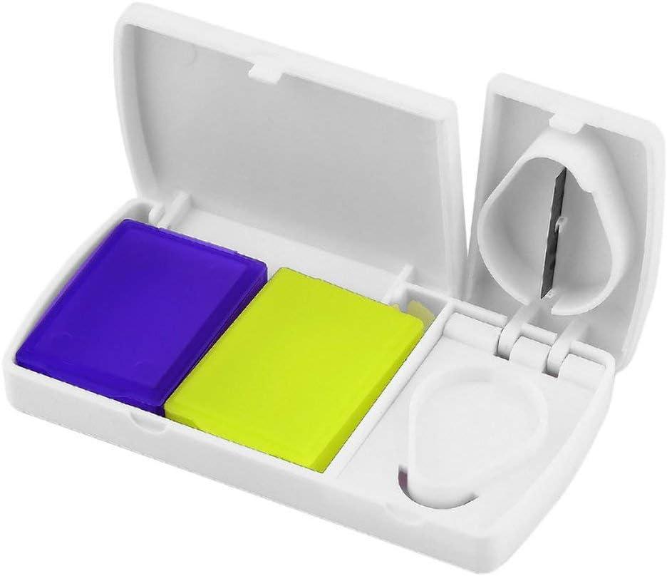 Candyboom Wei/ßer ABS Edelstahl unter Verwendung der mehrfachen Gelegenheits-Medizin-Tablet-Aufbewahrungsbox mit Teiler-Organisator-Griff-Teiler-Tablettenschneider PP