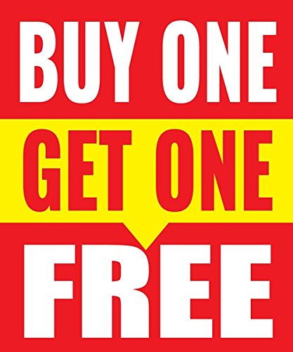 Buy One Get One Free Store Business Retail Sale Display Signs, 18