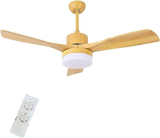 Ventilador de Techo doméstico con luz de Madera Maciza, Ventilador ...