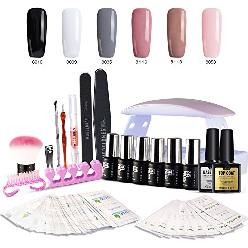 Gel Nail Polish Kit with UV light - Soak Off Gel Base Top Coat 6W Nail Lamp Portable Kit 6 Classic Colors by Modelones -