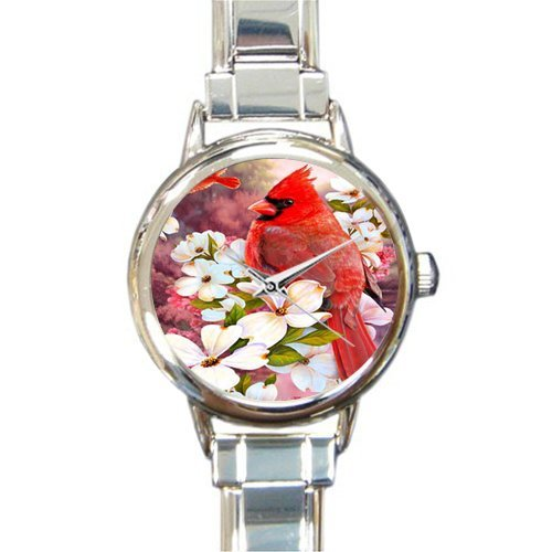 Special Design Beautiful Red Cardinal bird and Snow Round Italian Charm Watch